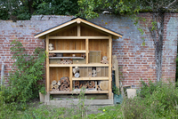 Insect ''hotel'' built to attract bees, partly filled, Prest