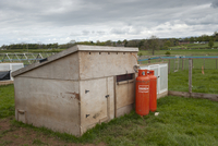 Gamebird farming, pheasant rearing shed with propane gas cyl