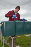 Gamebird farming, trainee gamekeeper adding solulyte to wate 32259008608| 写真素材・ストックフォト・画像・イラスト素材|アマナイメージズ