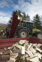 Stack of firewood coming from tractor powered sawbench and s 32259008670| 写真素材・ストックフォト・画像・イラスト素材|アマナイメージズ