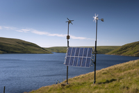 Combination of solar panels and wind turbines, harnessing re