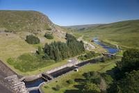 View of dam overflow, Claerwen Reservoir, Elan Valley, Powys