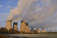 Cooling towers of coal-powered and 1,300MW Combined Cycle Ga