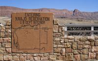 Entering Navajo Reservation' sign, Colorado Bridge, near Pag