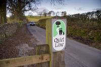 Quiet Lane' sign beside road, near Slaidburn, Forest of Bowl