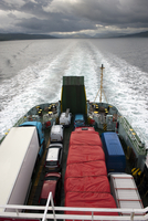 Vehicles on ferry boat at sea, Firth of Lorn, Argyll and But