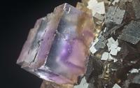 閃亜鉛鉱の中の蛍石(CaF 2)の結晶