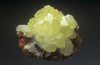 褐鉄鉱(リモナイト)の中のアダム石(アダマイト)の結晶