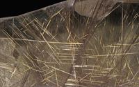 石英(クォーツ)の中の金紅石(酸化チタン) チタニウムの重要な鉱石