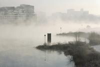 朝霧のアイセル川