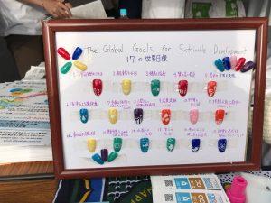 SDGsの17目標をデザインしたネイル。この見本は、高校生の手作りだそう。