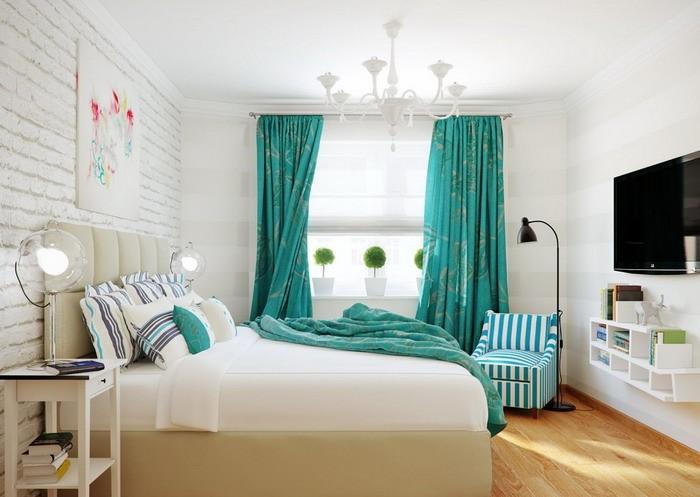 インテリアカーテン 寝室緑