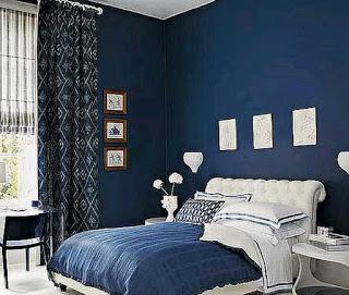インテリア カーテン寝室ブルー