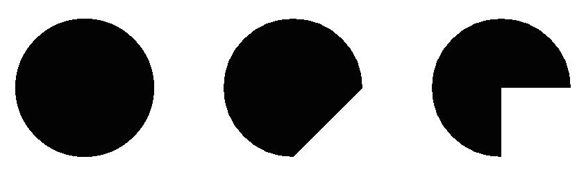 図1.5: 3つの弧が描かれている。一番右側はuseCenterをtrueにした結果