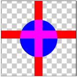 図1.13: ADD: 丸(DST)と十字(SRC)の画像の重なる部分のピクセルが加算されている
