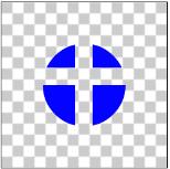 図1.2: 丸をDSTに指定した場合、十字と重なる部分のピクセルが透明になっている
