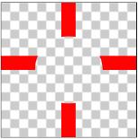 図1.3: 十字をDSTに指定した場合、丸と重なる部分のピクセルが透明になっている