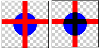 図1.14: DARKEN: ハードウェア・アクセラレーション有効時(左)、無効時(右)