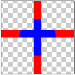 図1.10: DST_ATOP: 十字(SRC)にDST_INの結果を重ねている
