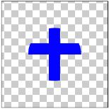 図1.6: DST_IN: 丸(DST)から十字(SRC)の画像と交差しない部分を透明にしている