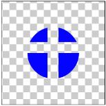 図1.8: DST_OUT: 丸(DST)を十字(SRC)の画像で型抜きしている