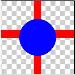 図1.4: DST_OVER: 丸(DST)が十字(SRC)の上に重なっている