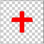 図1.7: SRC_IN: 十字(SRC)から丸(DST)の画像と交差しない部分を透明にしている