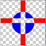 図1.12: XOR: 丸(DST)と十字(SRC)の画像の重なる部分だけ透明になっている