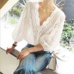 ひさしぶりに甘め推しの春が来た♡《スカラップ&かぎ編み》でフェミニン満開コーデ!のサムネイル画像