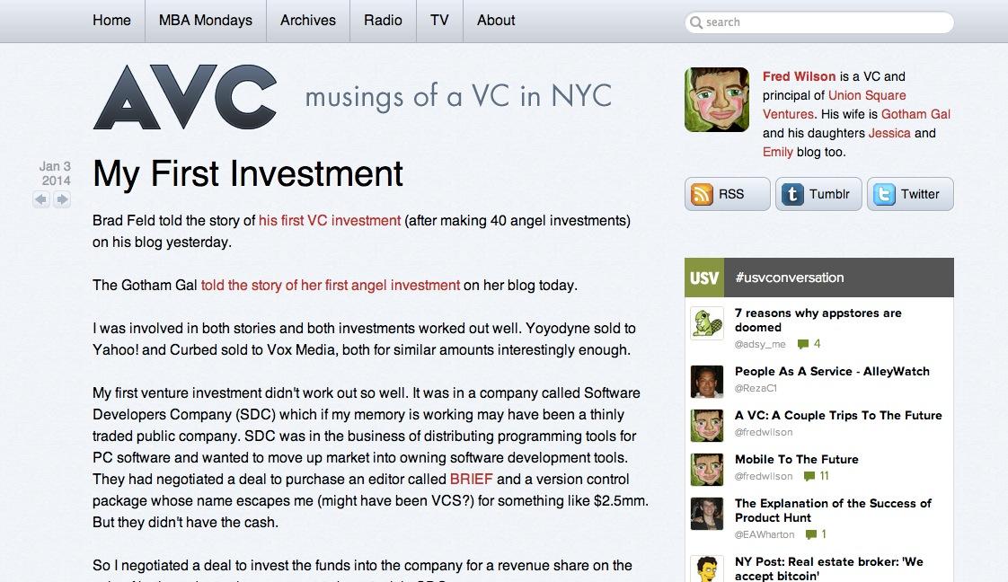ユニオンスクエアベンチャーズ(Union Square Ventures)のFred Wilsonの「最初の投資を振り返って」