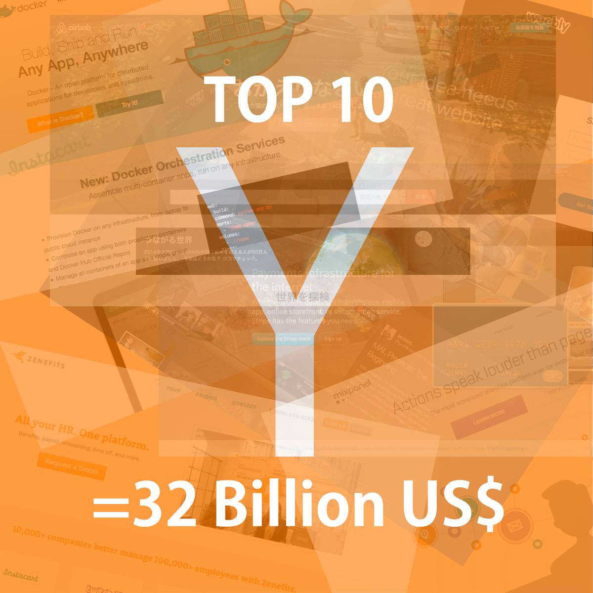 Y Combinatorの投資先スタートアップTOP10は企業価値合計3.2兆円!