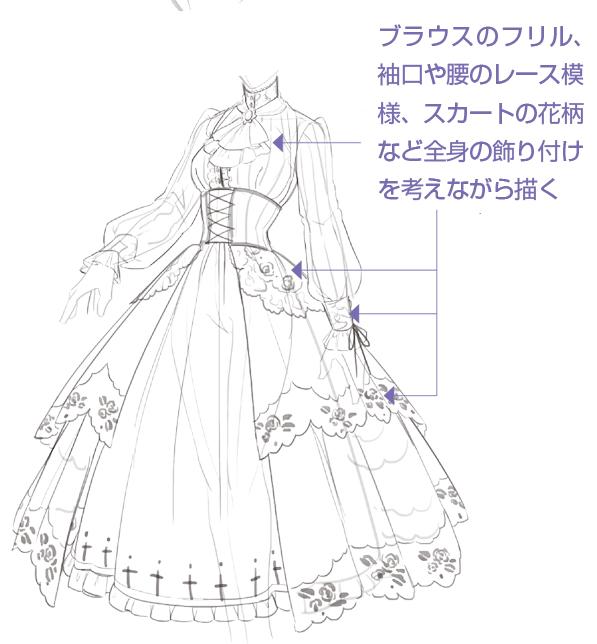アタリを元に、全体のシルエットを整えながら、ドレスのラフデザインを描いていきます。