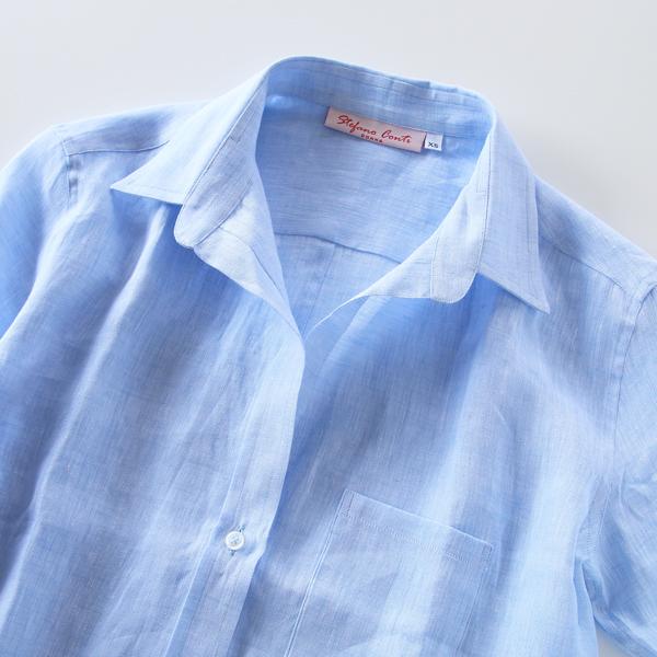 STEFANO CONT リネンスキッパーシャツ blue