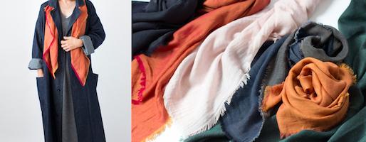 一枚目のスカーフに。hatsutokiのダブルフェイス生地でつくった、「合わせやすい」スカーフ