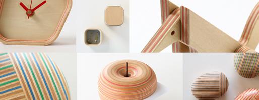 木+紙の新たな素材、あたたかみのあるシマシマ模様の木製品