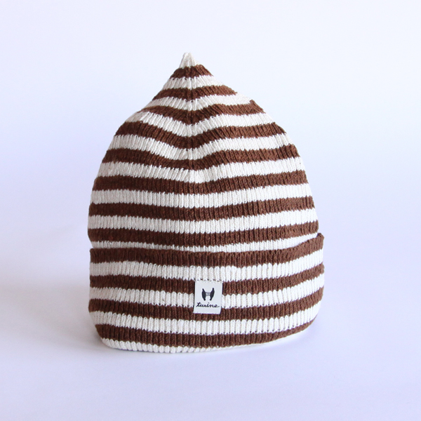 KNIT STRIPE CAP(茶/生成)