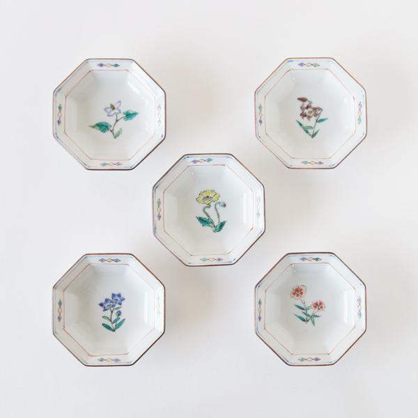 新 八角花紋小皿 5枚セット