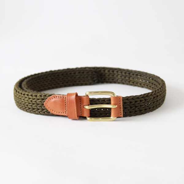 TUBE BELT-FIBER w/LEATHER ROLLER KHAKI  32inc