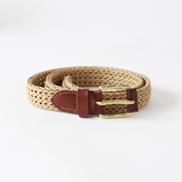 ベルト TUBE BELT-FIBER w/LEATHER ROLLER NATURAL