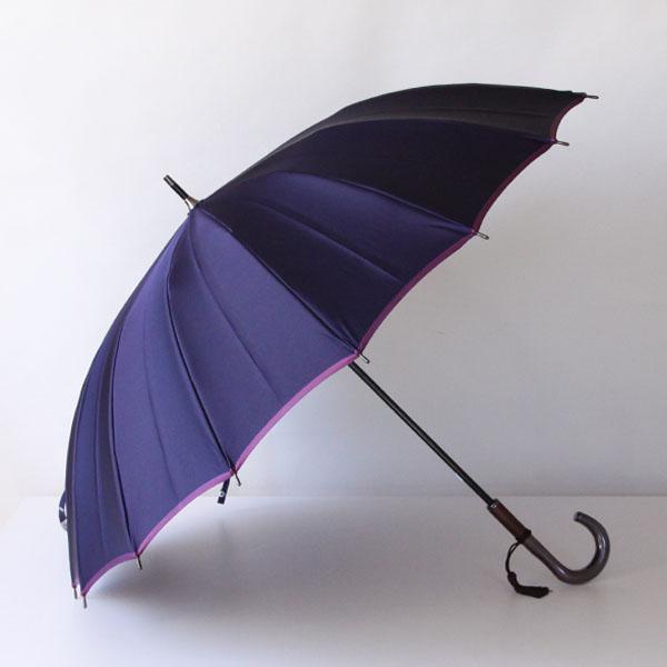 甲州織 長傘 かさね ネイビー/パープル
