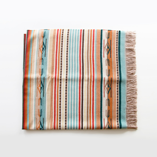 ブランケット Chimayo Fringed Throw Coral
