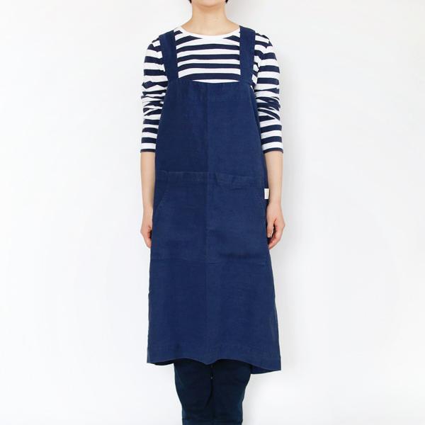 リネンエプロン Pinafore apron Colors(Navy)