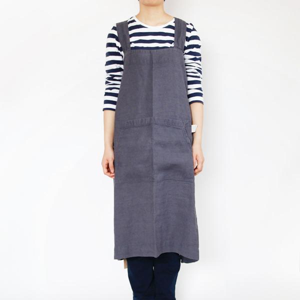 リネンエプロン Pinafore apron Colors(Dark Gray)