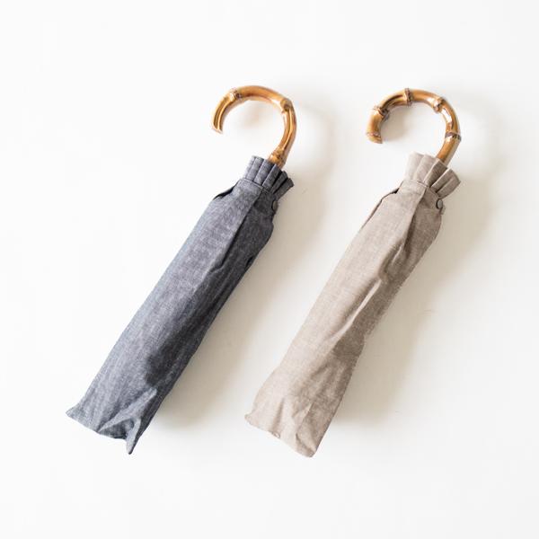 レディース晴雨兼用折りたたみ傘 綿麻ヘリンボーン