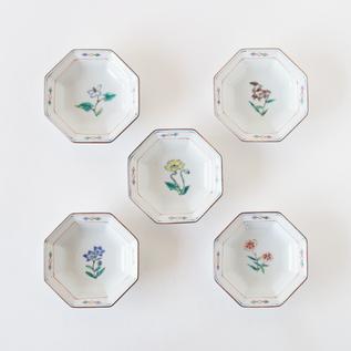 八角花紋小皿 5枚セット