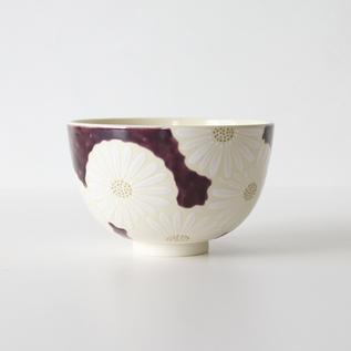 抹茶碗 紫地白菊