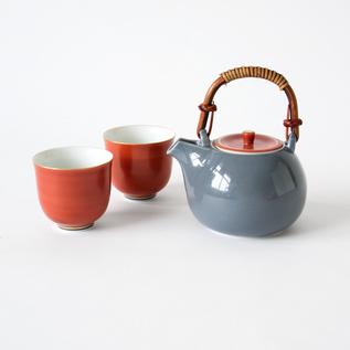 利休鼡 茶呑セット