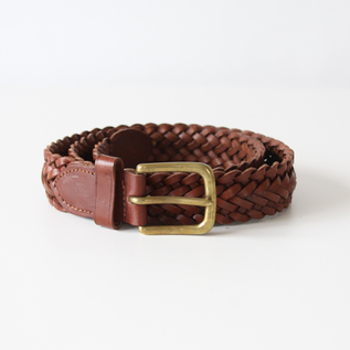 ベルト 9plate weave edge braid belt-brown