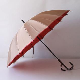 甲州織 長傘 かさね ベージュ/ピンク