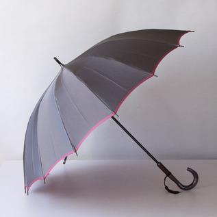 甲州織 長傘 かさね グレー/ローズピンク